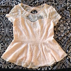 Forever 21 Floral Lace Peplum Top - Size 1X (EUC)